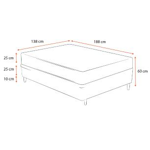 Cama Box Casal Preta + Colchão de Molas Ensacadas - Plumatex - Milano - 138x188x60cm