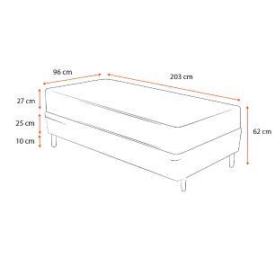 Cama Box Solteiro King Preta + Colchão De Espuma D33 - Castor - Black White Double Face 96x203x62cm