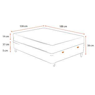 Cama Box Baú Viúva Cinza + Colchão de Espuma D23 - Ortobom - Light - 128x188x56cm