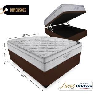 Cama Box Com Baú Casal + Colchão De Molas Ensacadas - Ortobom - Freedom 138x188x74cm