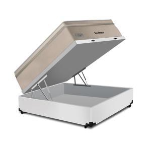 Cama Box Baú Casal Branca + Colchão de Molas Superlastic - Plumatex - Toulouse - 138x188x76cm