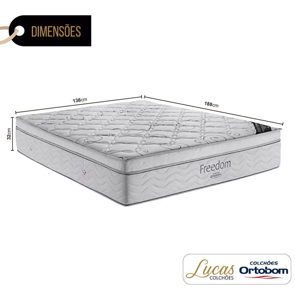 Colchão De Molas Ensacadas Casal - Ortobom - Freedom - 138x188x32cm