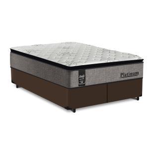 Cama Box Queen Marrom + Colchão de Molas Ensacadas - Sealy - Platinum - 158x198x67cm
