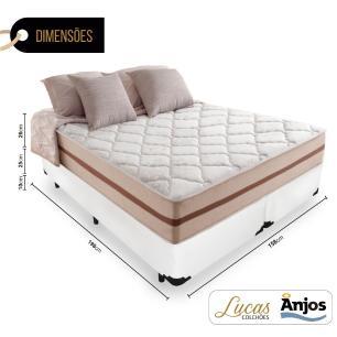 Cama Box Queen + Colchão De Molas Ensacadas - Anjos - Classic - 158x198x61cm