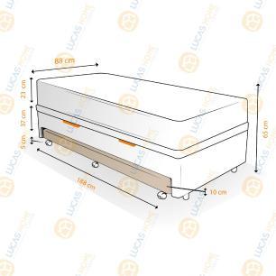 Cama Box Baú e Auxiliar Solteiro Preta + Colchão Molas - Ortobom - Physical Nanolastic - 88x188x65cm