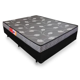 Cama Box Casal Compacto (128cm) Preta + Colchão De Espuma D20 - Prorelax - Violeta com Travesseiros