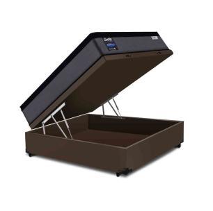Cama Box Baú Casal Marrom + Colchão de Molas Ensacadas - Sealy - Starck - 138x188x70cm
