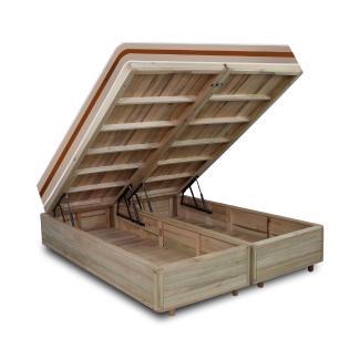 Cama Box com Baú Super King Rústica + Colchão De Molas Ensacadas - Anjos - Classic 193x203x68cm