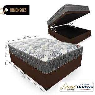 Cama Box Com Baú Casal + Colchão De Molas Ensacadas - Ortobom - ISO SuperPocket 138x188x67cm