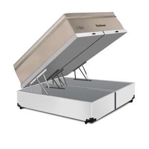Cama Box Baú King Branca + Colchão de Molas Superlastic - Plumatex - Toulouse - 193x203x76cm