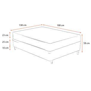 Cama Box Casal Cinza + Colchão De Molas - Ortobom - Physical Nanolastic - 138x188x58cm