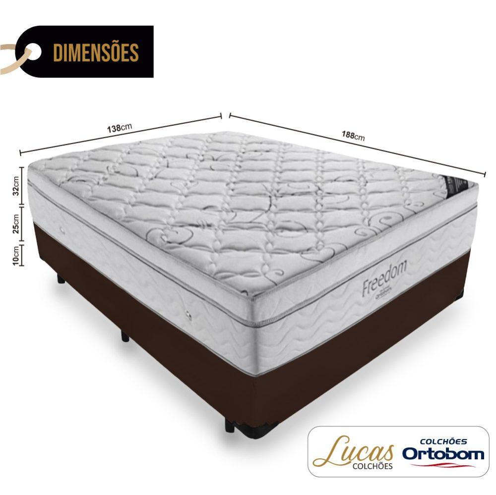 Cama Box Casal + Colchão De Molas Ensacadas - Ortobom - Freedom - 138x188x67cm