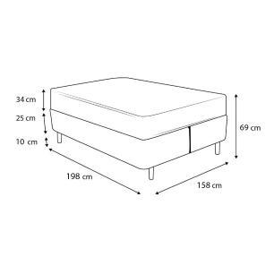 Cama Box Queen Preta + Colchão de Molas Superlastic - Plumatex - Toulouse - 158x198x69cm
