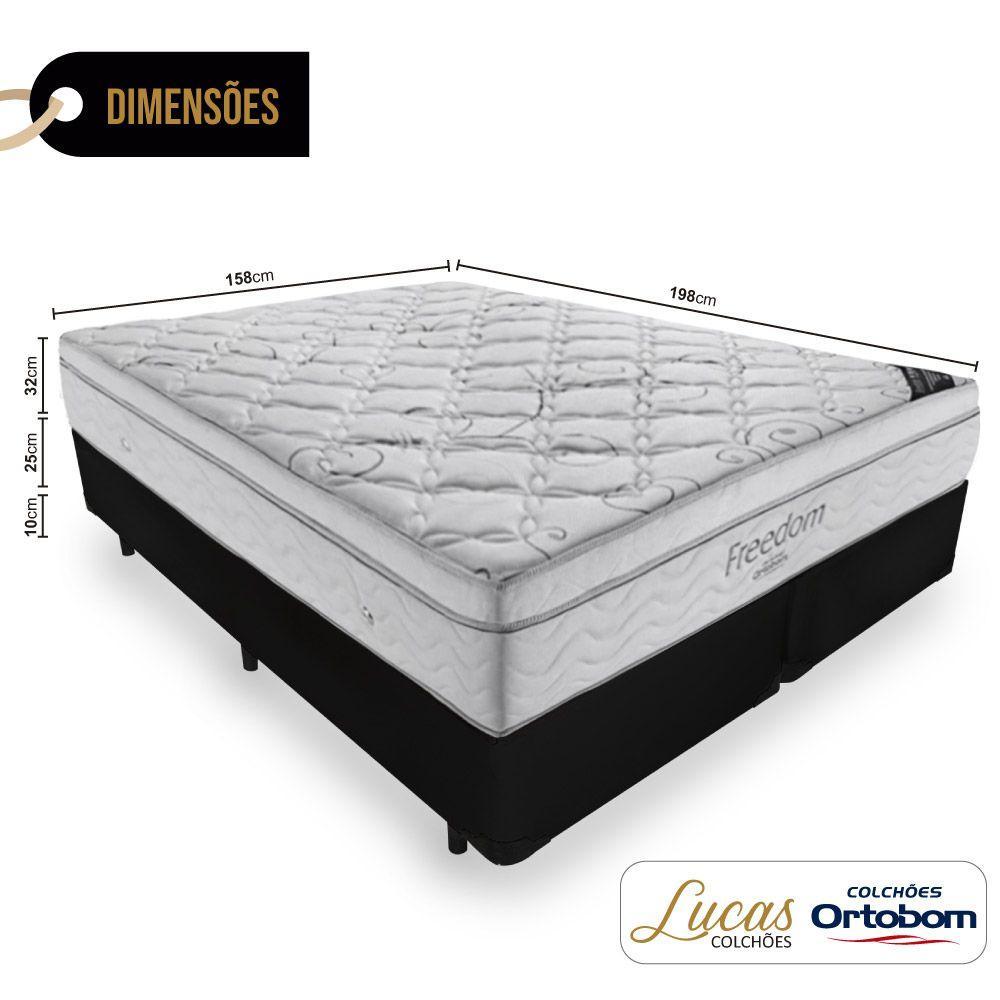 Cama Box Queen + Colchão De Molas Ensacadas - Ortobom - Freedom 158x198x67cm
