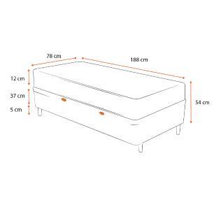 Cama Box Baú Solteiro Cinza + Colchão De Espuma D23 - Ortobom - Light Liso - 78x188x54cm
