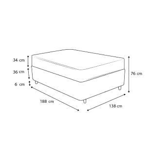 Cama Box Baú Casal Rústica + Colchão de Molas Superlastic - Plumatex - Toulouse - 138x188x76cm