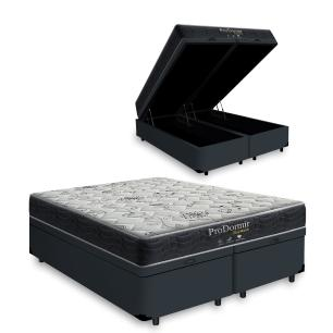 Cama Box Baú King Cinza + Colchão De Molas - Probel - Prodormir Sleep Black - 193x203x64cm