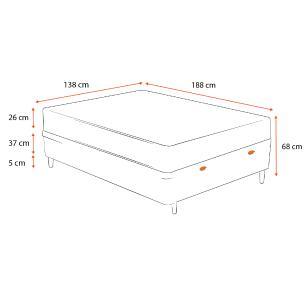 Cama Box Baú Casal Branca + Colchão Espuma D33 - Lucas Home - Confort D33 138x188x68cm