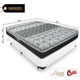Cama Box Viúva + Colchão De Molas - Castor - Class Bonnel One Face 128x188x60cm