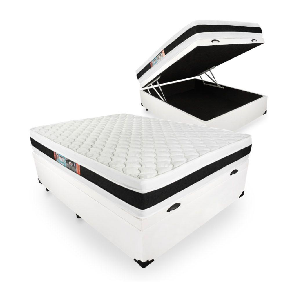 Cama Box Baú Viúva + Colchão De Espuma D45 - Castor - Black White Double Face 128x188x69cm