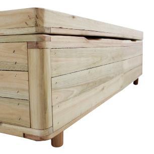 Cama Box com Baú Viúva Rústica + Colchão De Espuma D33 - Castor - Sleep Max 128x188x60cm