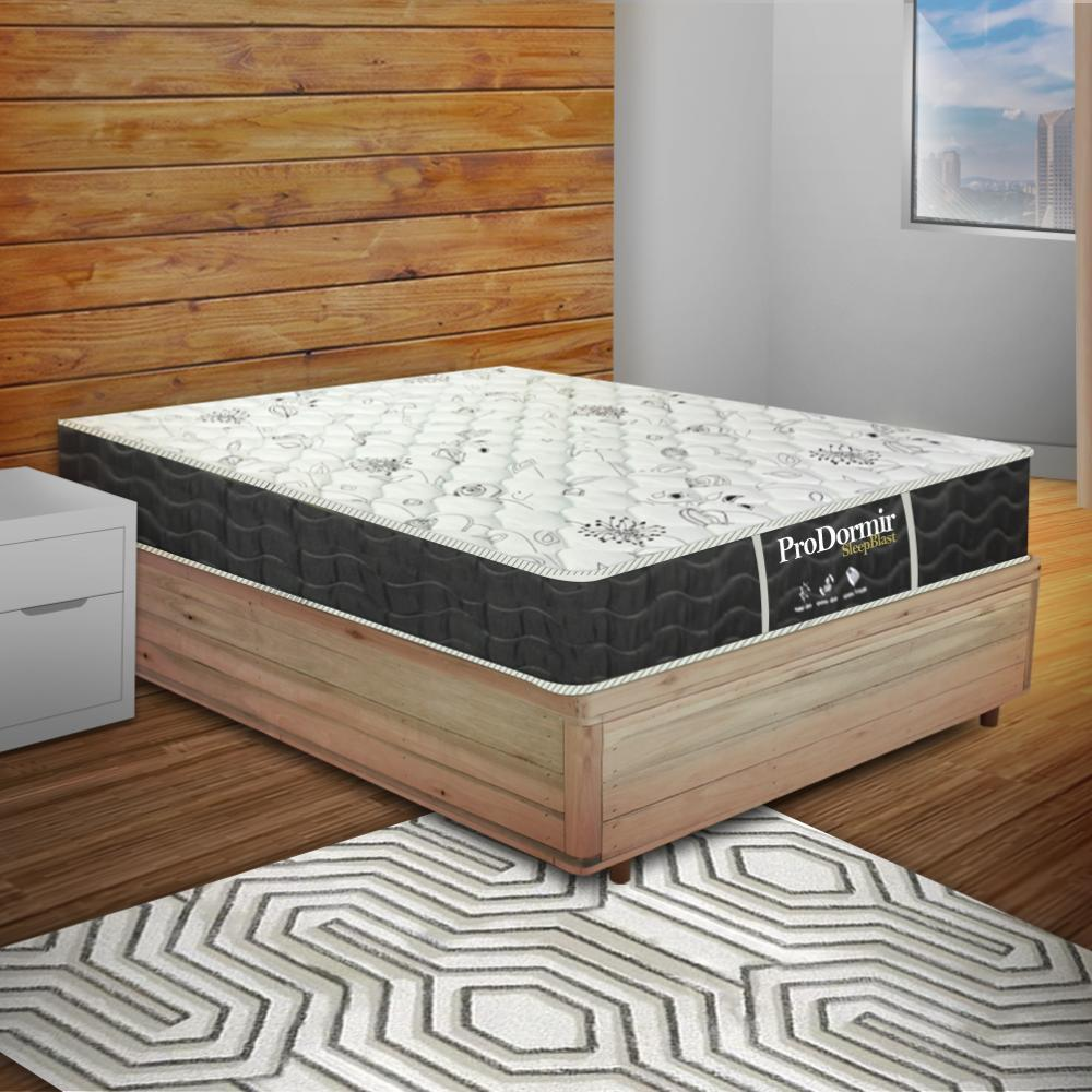 Cama Box Viúva Rústica + Colchão De Molas - Probel - Prodormir Sleep Black 128x188x59cm