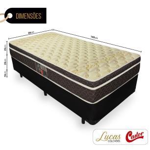 Cama Box Solteiro + Colchão Molas Ensacadas - Castor - Class Pocket Híbrido One Face 88x188x60cm