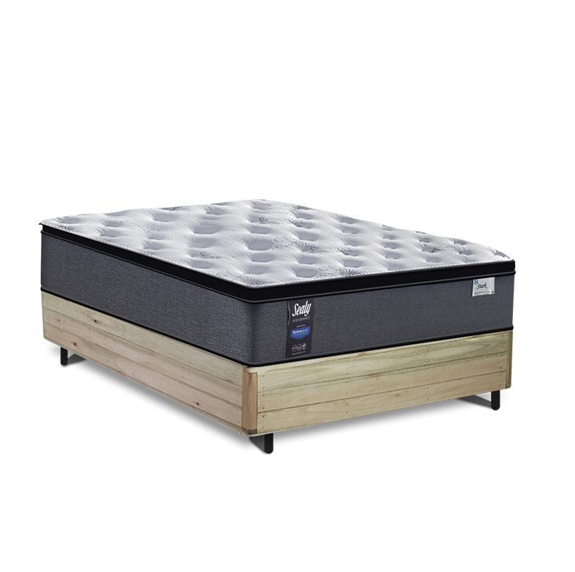 Cama Box Casal Rústica + Colchão de Molas Ensacadas - Sealy - Starck - 138x188x65cm