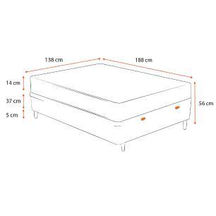 Cama Box Baú Casal Cinza + Colchão de Espuma D23 - Ortobom - Light - 138x188x56cm