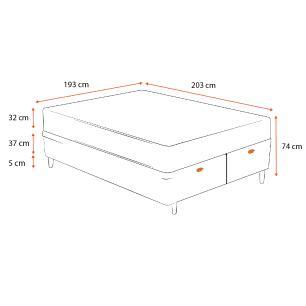Cama Box Baú Super King Cinza + Colchão De Molas Ensacadas - Ortobom - Freedom - 193x203x74cm