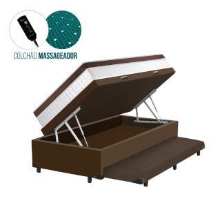 Cama Box Baú e Auxiliar Solteiro Marrom + Colchão Magnético - Anjos – New King - 88x188x72cm