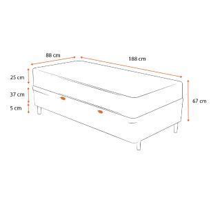 Cama Box Baú Solteiro Cinza + Colchão De Molas Ensacadas - Ortobom - ISO SuperPocket - 88x188x67cm