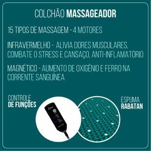 Cama Box Queen Preta + Colchão Massageador c/ Infravermelho - Anjos  - New King - 158x198x65cm