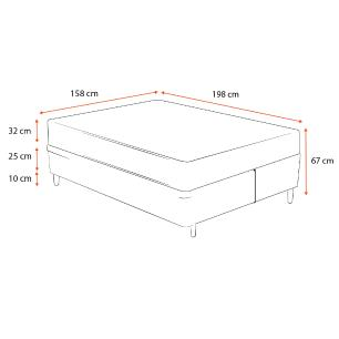 Cama Box Queen Cinza + Colchão de Molas Ensacadas - Sealy - Platinum - 158x198x67cm