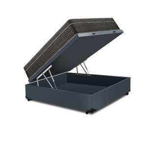 Cama Box Baú Viúva Cinza + Colchão De Molas Ensacadas - Ortobom - ISO SuperPocket - 128x188x67cm