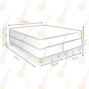 Cama Box Queen Rústica + Colchão Massageador - Mormaii - Flutuante 158x198x67cm