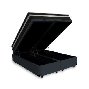 Cama Box Baú Super King Cinza + Colchão De Molas - Anjos - Black Graphite - 193x203x68cm