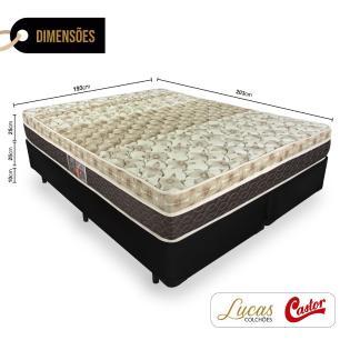 Cama Box Super King Preta + Colchão Mola Ensacada - Castor - Class Pocket Híbrido One Face 193x203x60cm