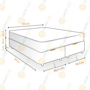 Cama Box com Baú Super King Rústica + Colchão De Molas - Anjos - Classic Superlastic 193x203x68cm