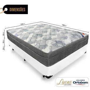 Cama Box Casal + Colchão De Molas Ensacadas - Ortobom - ISO SuperPocket 138x188x60cm