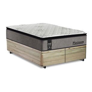 Cama Box Baú King Rústica + Colchão de Molas Ensacadas - Sealy - Platinum - 193x203x74cm