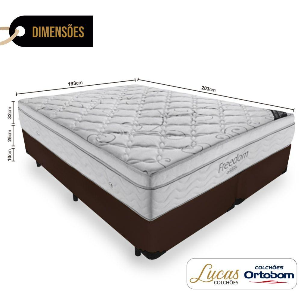Cama Box Super King Preta + Colchão De Molas Ensacadas - Ortobom - Freedom - 193x203x67cm