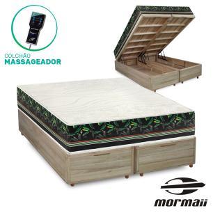 Cama Box com Baú Queen Rústica + Colchão Massageador - Mormaii - Smartzone Bananal 158x198x72cm