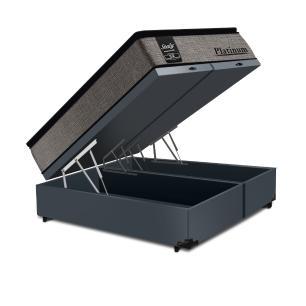 Cama Box Baú Super King Cinza + Colchão de Molas Ensacadas - Sealy - Platinum - 193x203x74cm