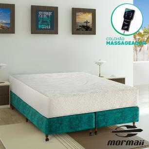 Cama Box Queen Rupestre + Colchão Massageador - Mormaii - Flutuante 158x198x64cm