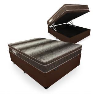 Cama Box Com Baú Casal + Colchão De Espuma D28 - Ortobom - Light Ortopédico 138x188x67cm