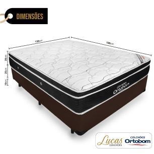 Cama Box Casal + Colchão De Molas Ensacadas - Ortobom - Elegant SuperPocket 138x188x63cm