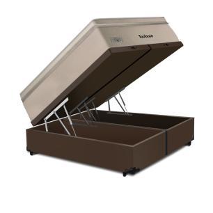 Cama Box Baú Super King Marrom + Colchão de Molas Superlastic - Plumatex - Toulouse - 193x203x76cm