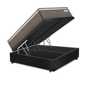 Cama Box Baú Queen Preta + Colchão de Molas Ensacadas - Plumatex -  Ilhéus 158x198x68cm
