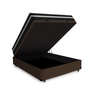 Cama Box Baú Casal + Colchão De Molas - Anjos - Black Graphite - 138x188x68cm